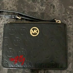 Michael Kors Black And Gold Wristlet